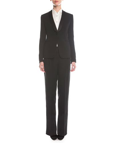 Single-Button Tuxedo Jacket, Long-Sleeve Satin Button Blouse & Satin Yoked Tuxedo Pants