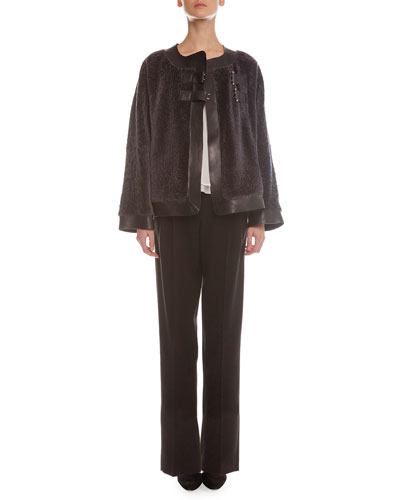 Leather-Trimmed Shearling Fur Coat, Sleeveless Layered Combo Blouse & Yoked Double-Pleated Tuxedo Pants