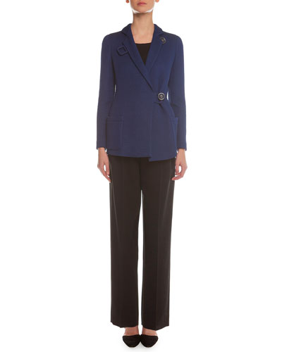 Matelasse Button-Toggle Coat, Sleeveless Layered Combo Blouse & Yoked Double-Pleated Tuxedo Pants