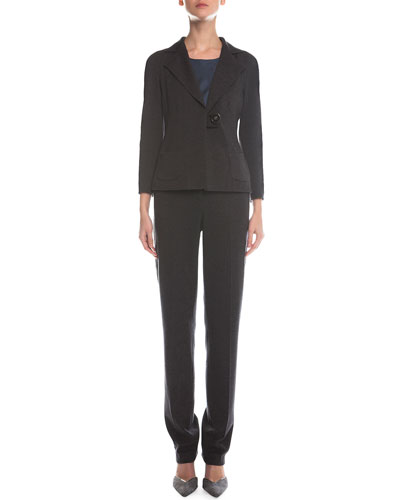 Chevron Woven D-Buckle Jacket, Scoop-Neck Pintucked Top, Herringbone-Knit Slim-Fit Pants