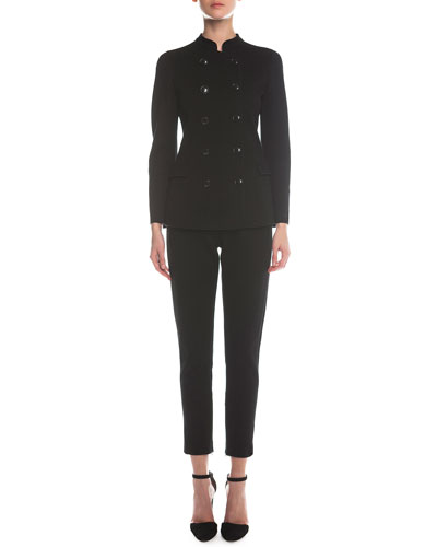 Double-Breasted Jersey Long Jacket & Jersey Zip-Cuff Ankle Pants