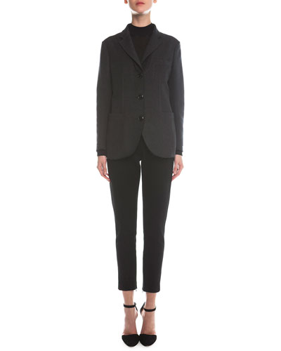 Felted Silk Boyfriend Jacket, Sheer Paneled Turtleneck & Jersey Zip-Cuff Ankle Pants