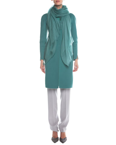 Cashmere Slim-Fit Coat, Ottoman-Knit Short-Sleeve Top, Slim-Fit Crepe Pants & Cashmere-Gauze Fringe Scarf