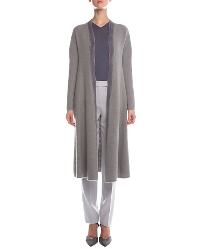 Hand-Painted Skirted Long Coat, V-Neck Sheer-Sleeve Sweater & Slim-Fit Crepe Pants