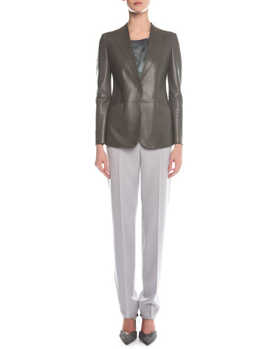 Faux-Lapel Plonge Leather Blazer, Scoop-Neck Marble-Print Top & Slim-Fit Crepe Pants