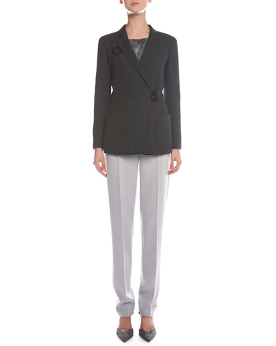 Check-Textured Button-Toggle Coat, Scoop-Neck Marble-Print Top & Slim-Fit Crepe Pants
