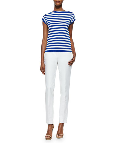 Striped Cap-Sleeve Top & Broadcloth Skinny Pants