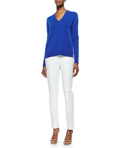 Cashmere V-Neck Sweater & Broadcloth Skinny Pants