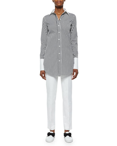 Striped French-Cuff Dress Shirt & Broadcloth Skinny Pants