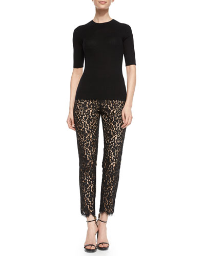 Cashmere Crewneck Ribbed Half-Sleeve Sweater & Floral-Lace Skinny Pants