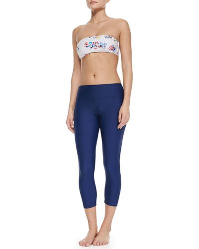 UPF 50 Beach-Print Bandeau Top, Hipster Bottom & Capri Leggings