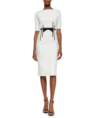 Merino Cropped Shrug & Bow-Belt Sheath Dress