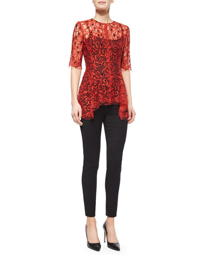 Lace Flare Top & Stretch Skinny Pants
