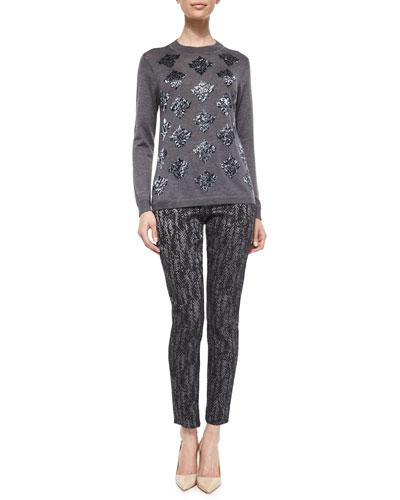 Long-Sleeve Beaded Sweater & Metallic Printed Skinny Pants
