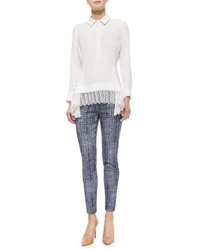 Lace-Hem Silk Popover Blouse & Crosshatch-Print Pants