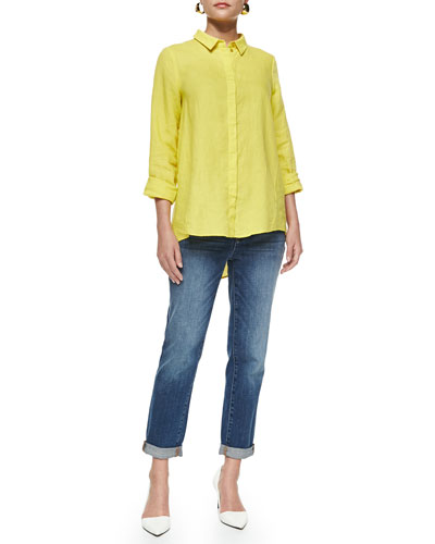 Organic Handkerchief Linen Shirt & Slim Stretch Ankle Jeans, Women