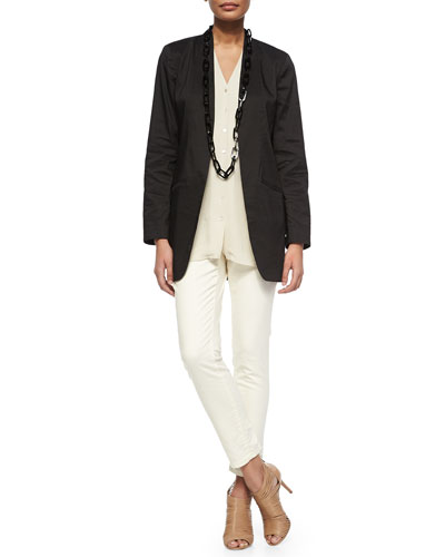Long Polished Ramie Jacket & Slim Stretch Ankle Jeans, Petite
