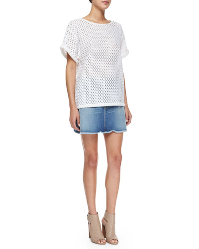 Le Boyfriend Lace Tee & Le High Mini Skirt