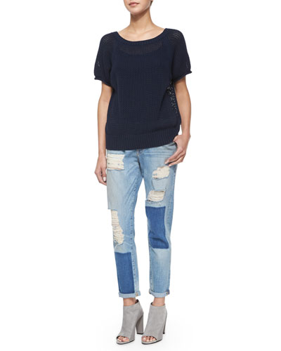 Short-Sleeve Pullover Sweater & Le Garcon Distressed Ankle Jeans