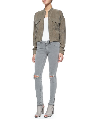 Santa Fe Cropped Bomber Jacket & Mid-Rise Skinny Jeans