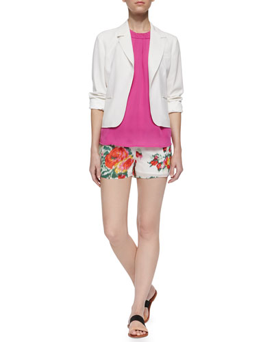 Isleta Silk Blazer, Fantina Braided-Collar Tank Top & Lanina Floral Ikat-Printed Shorts