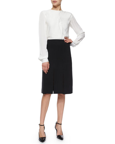 Draped-Front Crepe Blouse & Crepe A-line Skirt W/ Lace Inset