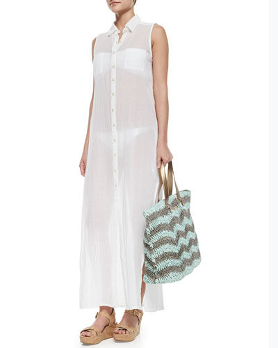 Sheer Sleeveless Voile Shirtdress Coverup & Woven/Metallic Beach Tote Bag