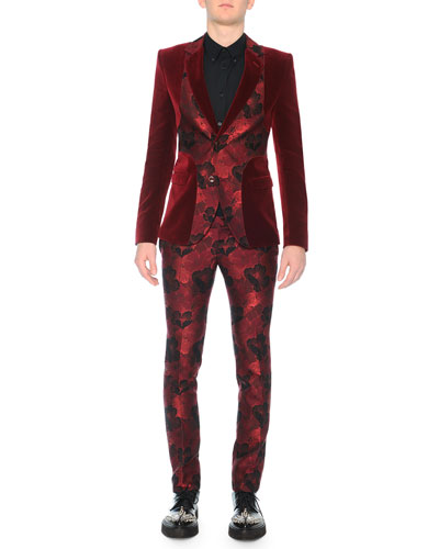 Velvet Evening Jacket with Poppy Front, Harness Long-Sleeve Sport Shirt & Poppy Brocade Trousers
