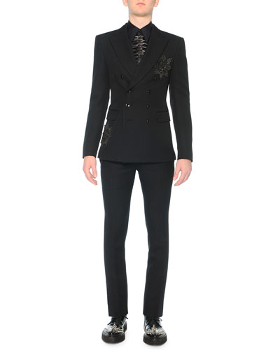 Beaded-Medallion Evening Jacket, Poplin Shirt with Leather Ruffle & Slim Wool Trousers