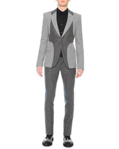 Tonal Harness Bicolor Blazer & Felt Wool-Cashmere Trousers