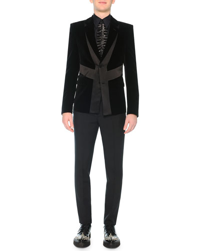 Velvet Evening Jacket with Satin Detail & Slim-Fit Trouser with Poppy Brocade
