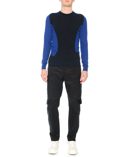 Bicolor Double-Layered Wool Sweater & Cargo Pants with Velvet Flaps