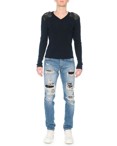 Crewneck Sweater with Poppy-Brocade Shoulders & Destroyed Denim Jeans