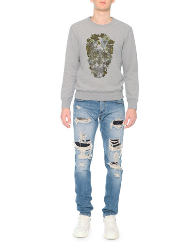 Crewneck Sweatshirt with Floral Skull Print & Destroyed Denim Jeans