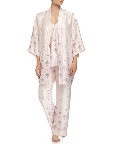 Jeweled Lace-Printed Satin Robe & Pajamas, Pink