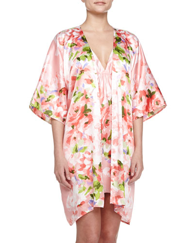 Garden Party-Print Short Wrap Robe & Chemise
