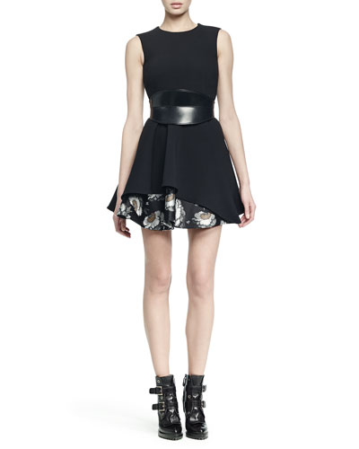 Sleeveless Jacquard Flounce-Hem Dress & No-Buckle Leather Waist Belt