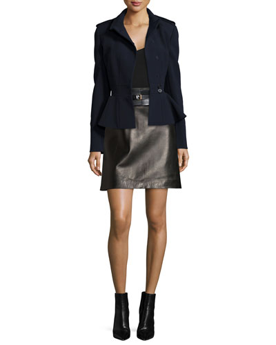 Compact Peplum Utility Jacket, Wide Leather Corset Belt & Leather Ruffle Pull-On Skirt