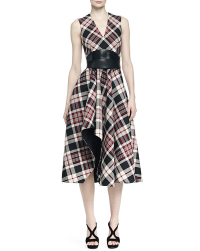 Ruffled Plaid Midi Dress & No-Buckle Leather Waist Belt