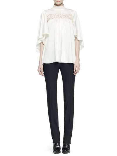 Ruffled Lace-Inset Blouse & Slim-Fit Straight-Leg Pants