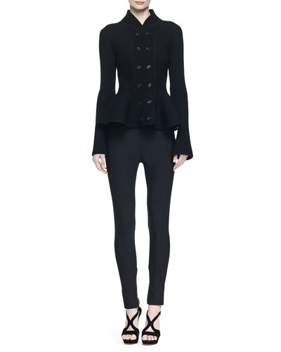 Ribbed Double-Breasted Peplum Jacket & High-Waisted Zip-Cuff Leggings