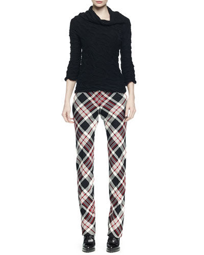 Cashmere-Blend Wide-Neck Cable-Knit Sweater & Plaid Pleated-Front Straight-Leg Pants