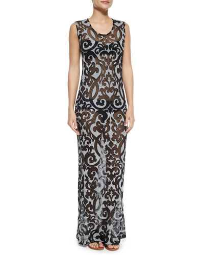 Printed Coverup Maxi Dress, Johnny D Bandeau Swim Top & Bill Low-Rise Swim Bottom