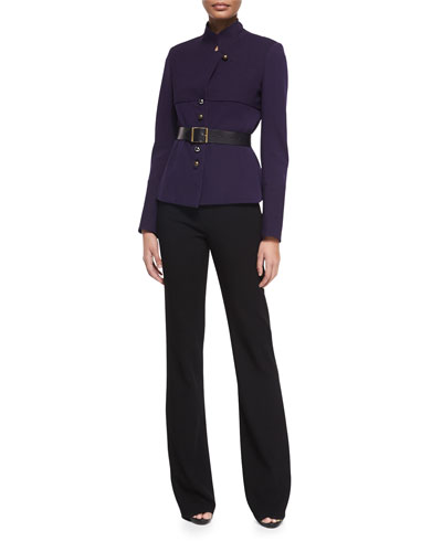 Donna Karan Long-Sleeve Belted Trench Jacket & High-Waist