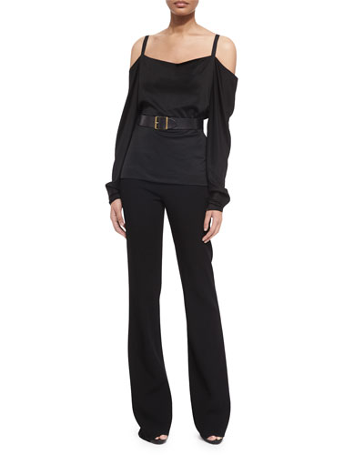 Long-Sleeve Cold-Shoulder Blouse, High-Waist Straight-Leg Pants & Faceted-Buckle Artisan Belt