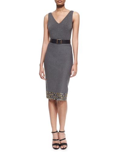 Sleeveless V-Neck Bodysuit, Faceted-Buckle Artisan Belt & High-Waist Embellished Pencil Skirt