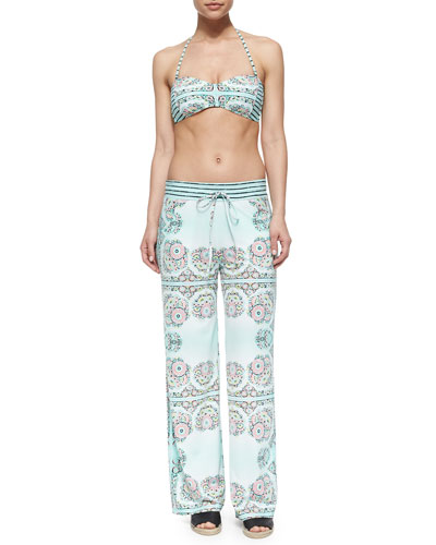 Montecito Printed Bandeau Swim Top, Charmer Printed Swim Bottom & Pull-On Beach Pants