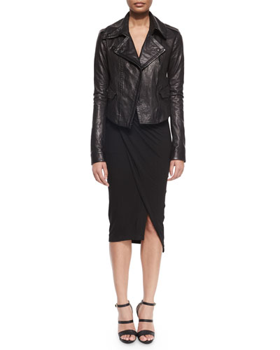 Asymmetric Leather Moto Jacket & Cold-Shoulder Draped V-Neck Dress