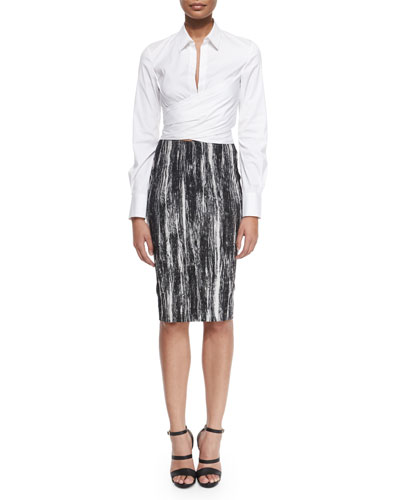 Long-Sleeve Wrap-Front Blouse & Brushstroke-Print Tube Skirt