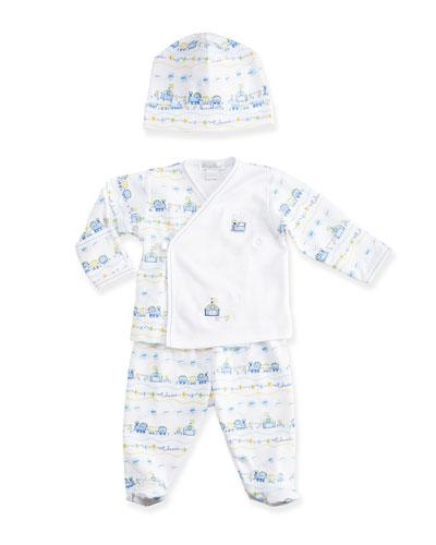 Choo Choo Train Pajama Set & Baby Hat, Light Blue/White